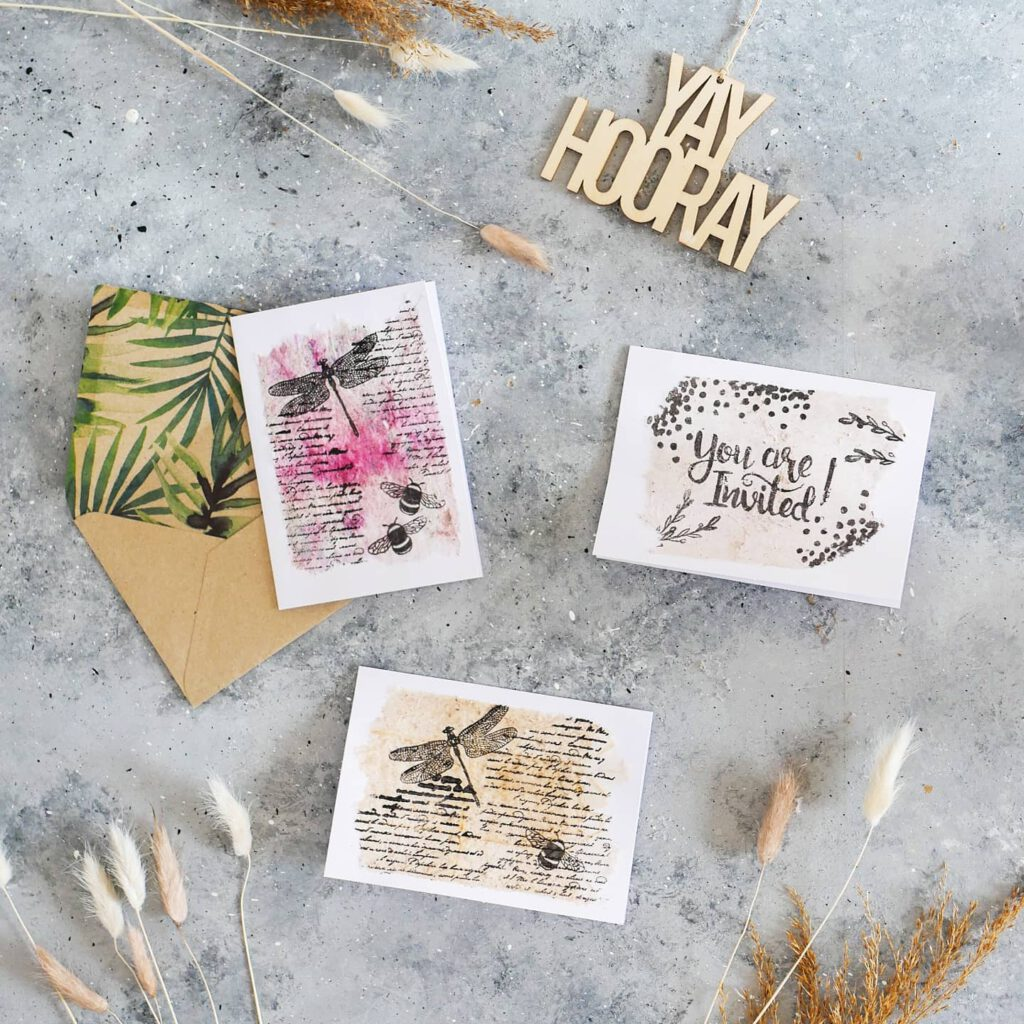 Karten aus benutzten Teebeuteln
