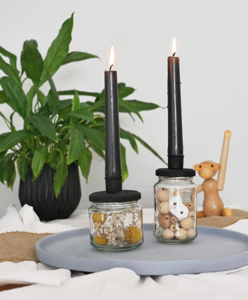 DIY Upcycling Kerzenständer aus einem Schraubglas