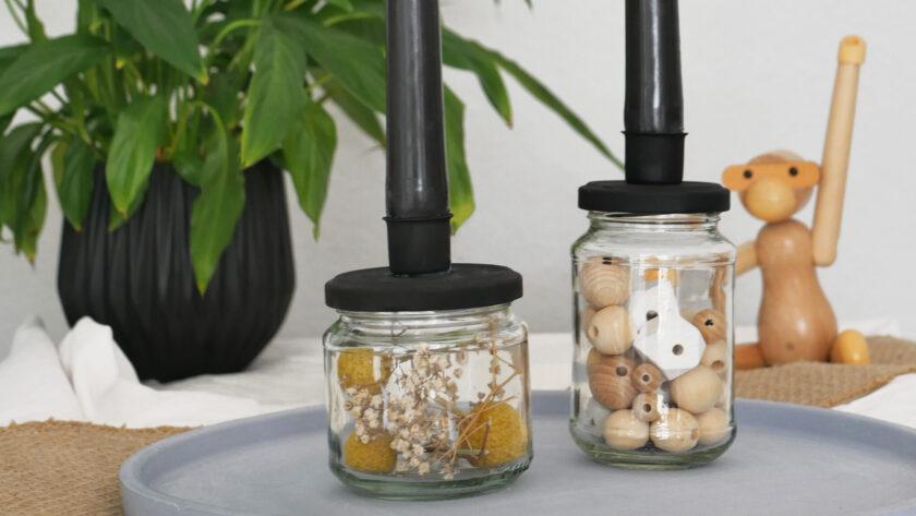 DIY Upcycling Kerzenhalter aus Schraubglas