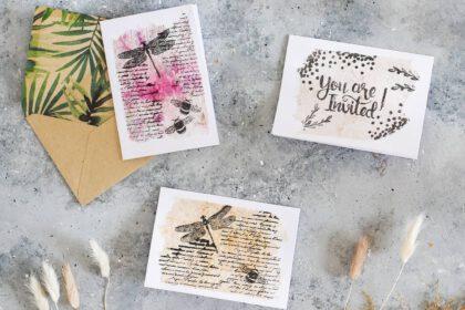 Upcycling Karten aus benutzten Teebeuteln