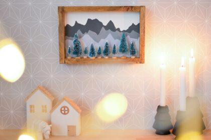 3D Winterlandschaft im Holzrahmen