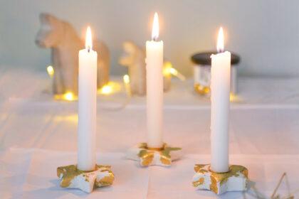 DIY Stern Kerzenhalter aus Modelliermasse mit Blattgold