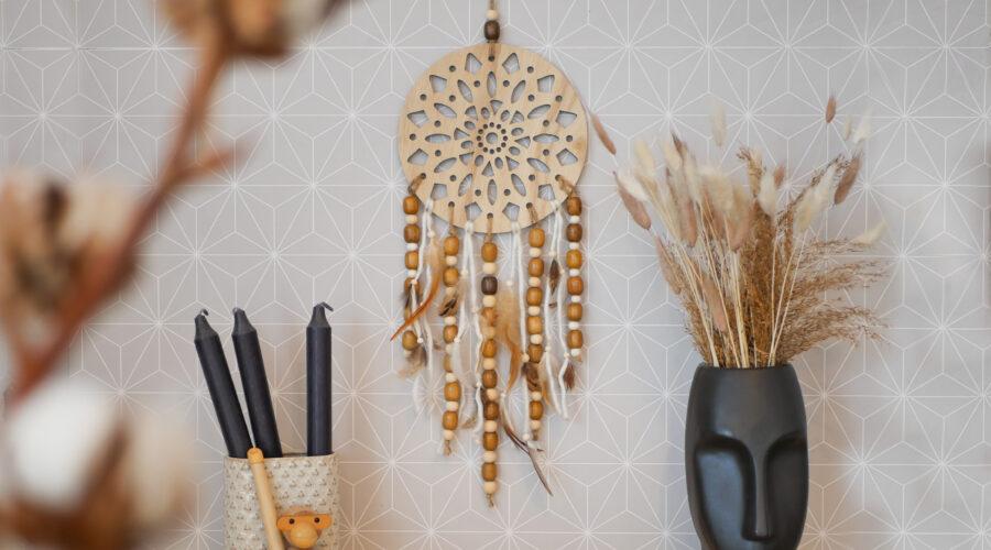 DIY Holz Traumfänger mit Holzperlen