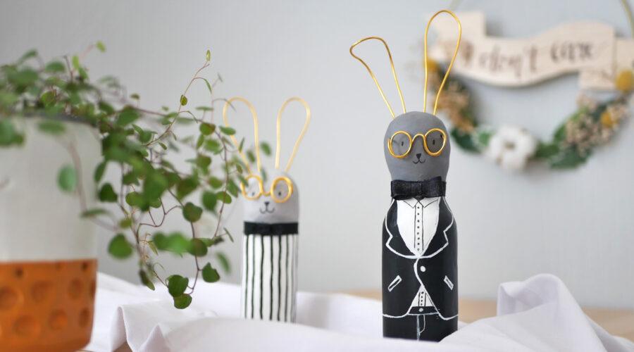 DIY Upcycling Hase aus Altglas und Modelliermasse