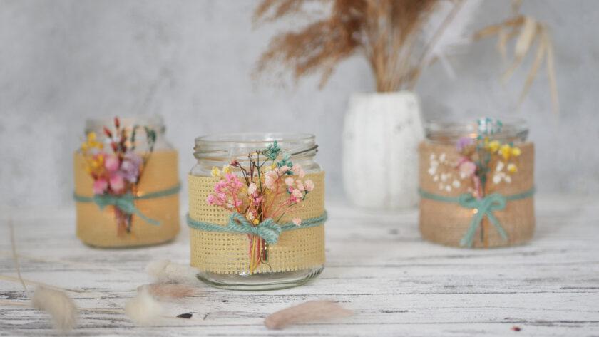 DIY Upcycling Windlicht aus Altglas Jute und Trockenblumen