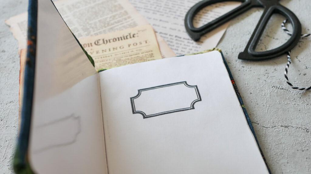 DIY Notizbuch aus Stoffresten: Feld für den Namen
