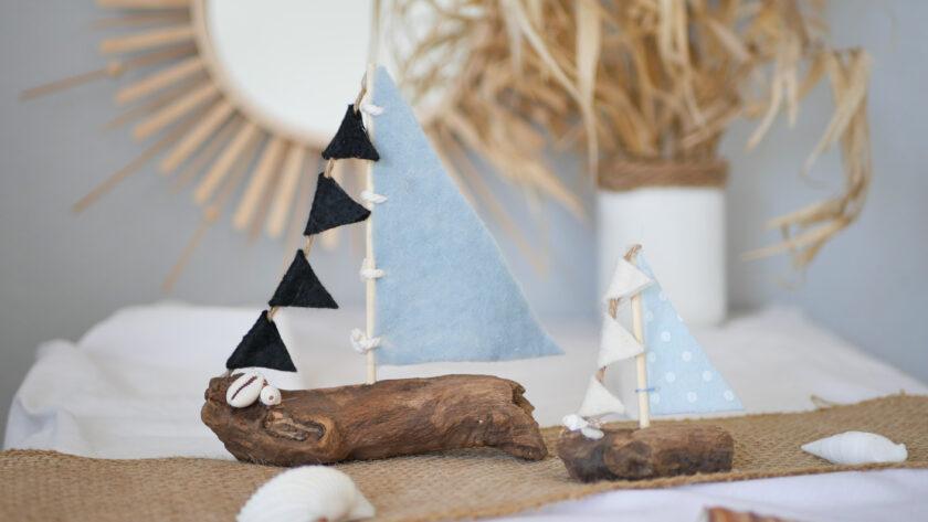 DIY Segelboot aus Treibholz und Filz