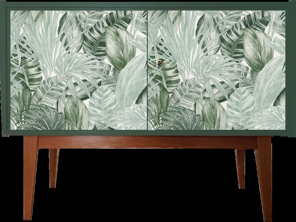 Version 2: Kommode in grün mit Blätter-Tapete auf den Fronten