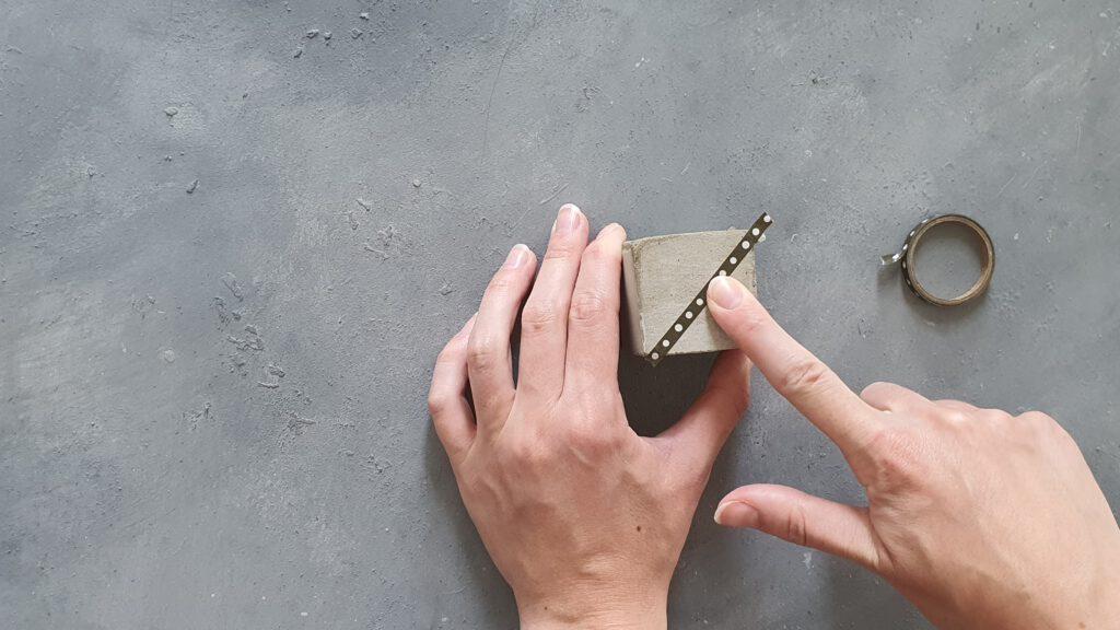 Kupfer Kerzenständer basteln Schritt 4: Abkleben