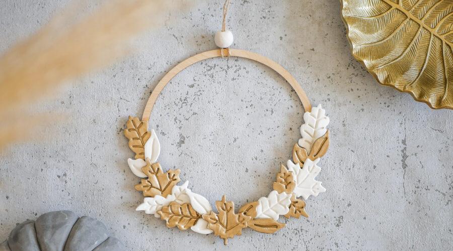 DIY Herbstkranz aus Modelliermasse im Boho-Stil