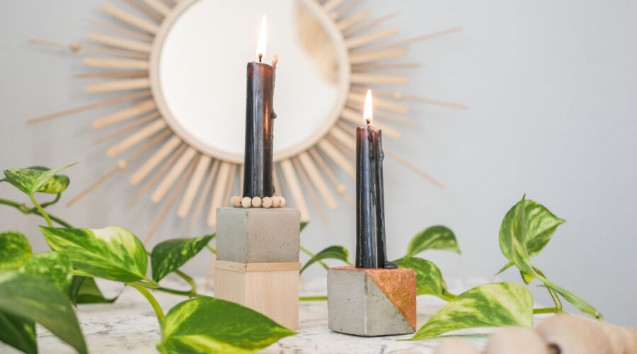 DIY Kerzenhalter aus Beton und Holz in zwei Varianten